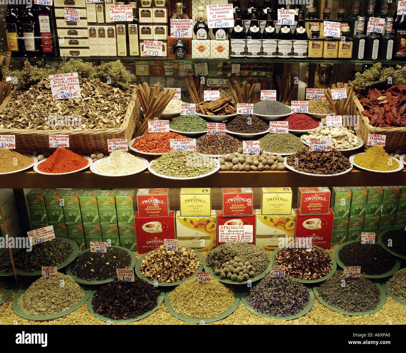 Italian Venetian Delicatessen Shop Window Display - Stock Image