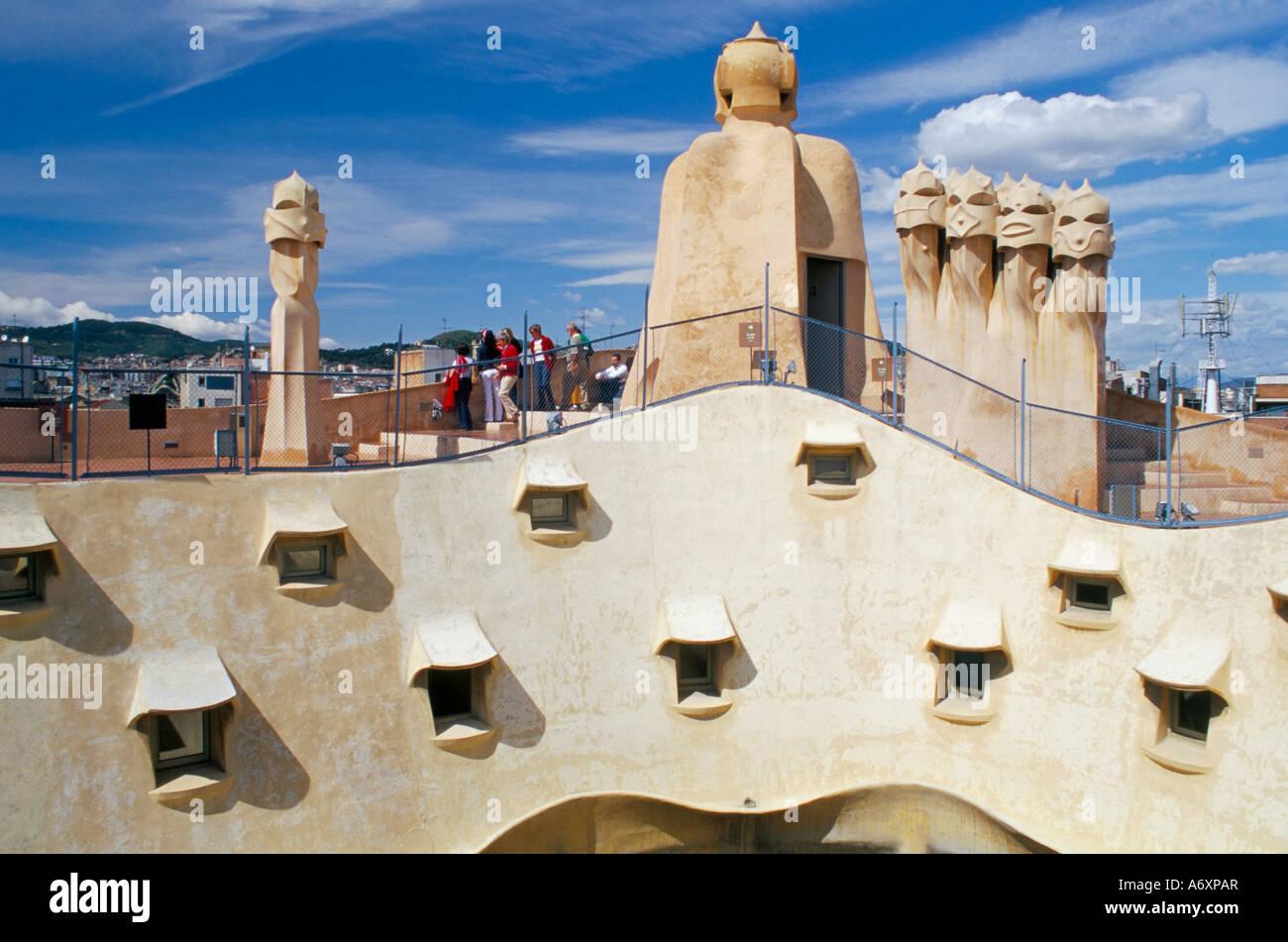 View of Gaudi s Casa Mila modernist roof terrace La ... |Casa Mila Roof