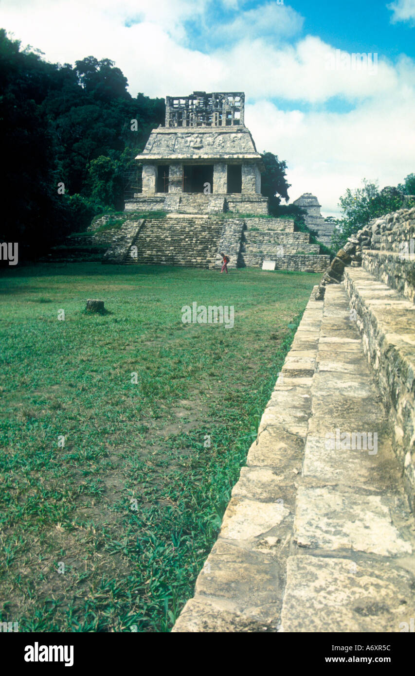 Palenque Maya Temple of the sun - Stock Image