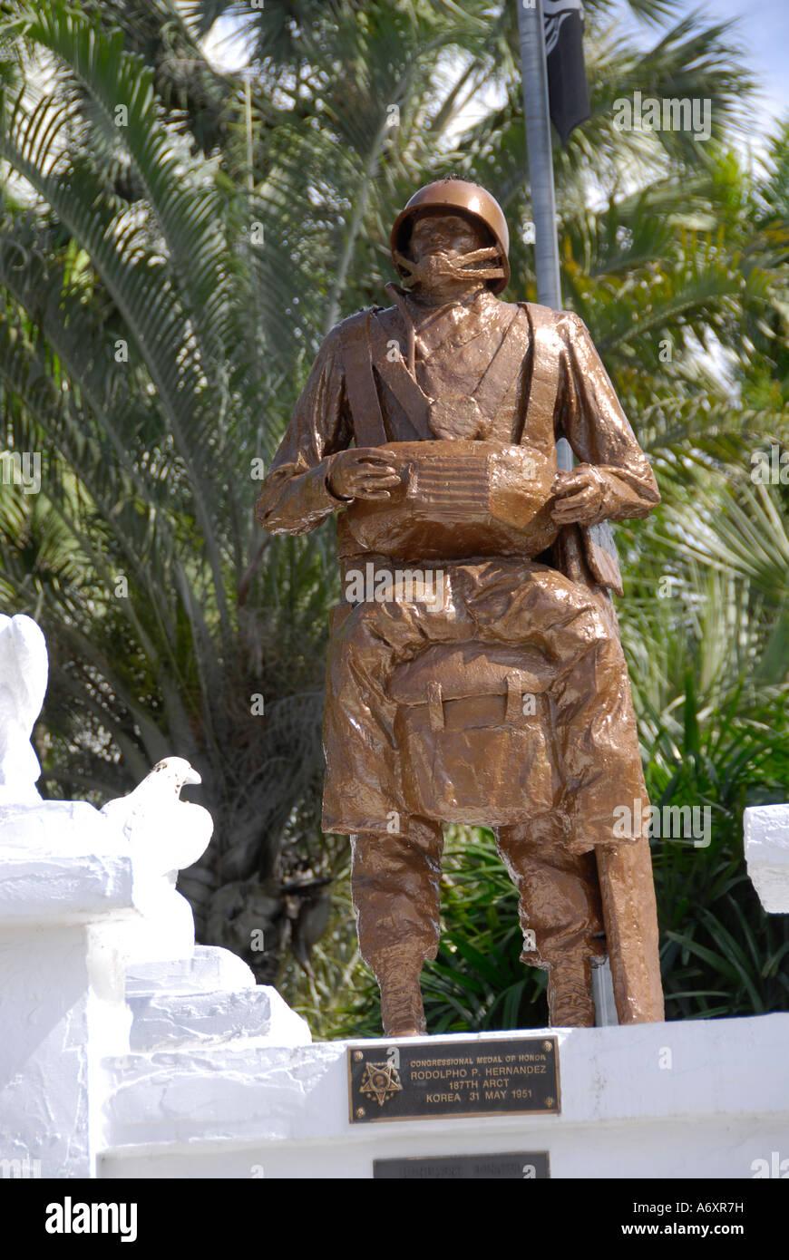 Rodolpho Hernandez Medal of Honor winner Statue in Historical Stock ...