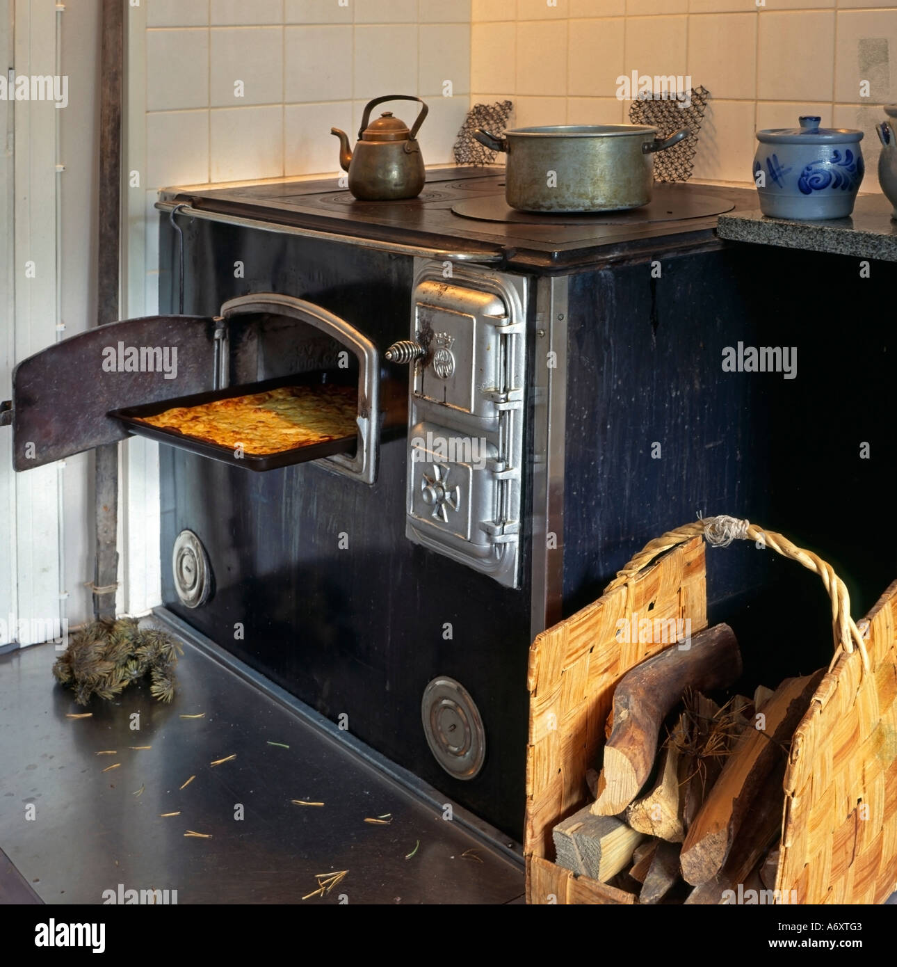 PR Old Kitchen Stove From Finland With A Baking Sheet In Wood Fired Oven