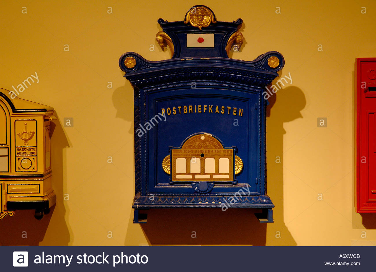 Old style post boxes on display at the Eretz Israel museun in Tel Aviv Israel - Stock Image