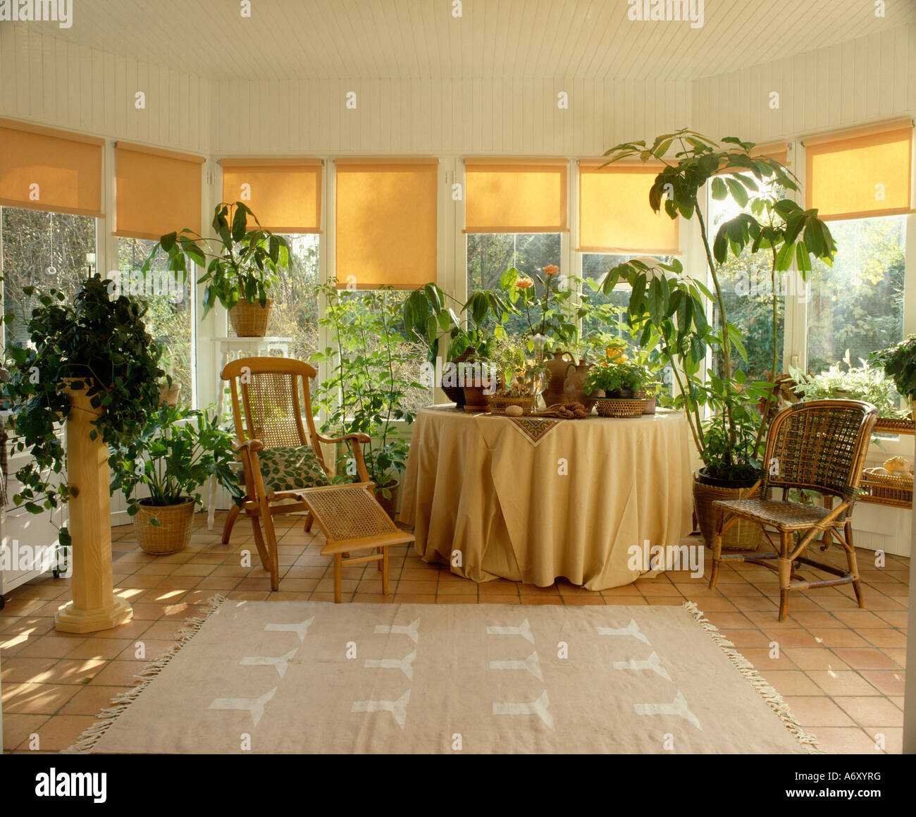 Yellow Blinds On Windows Of Sunroom With Lounger And Houseplants And