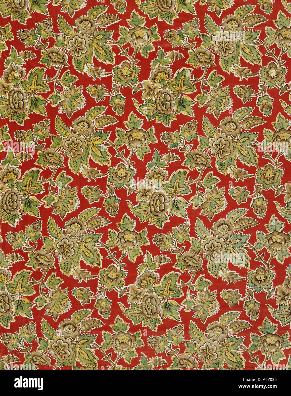 Floral pattern furnishing fabric by Pincott. England, 1803. - Stock Image