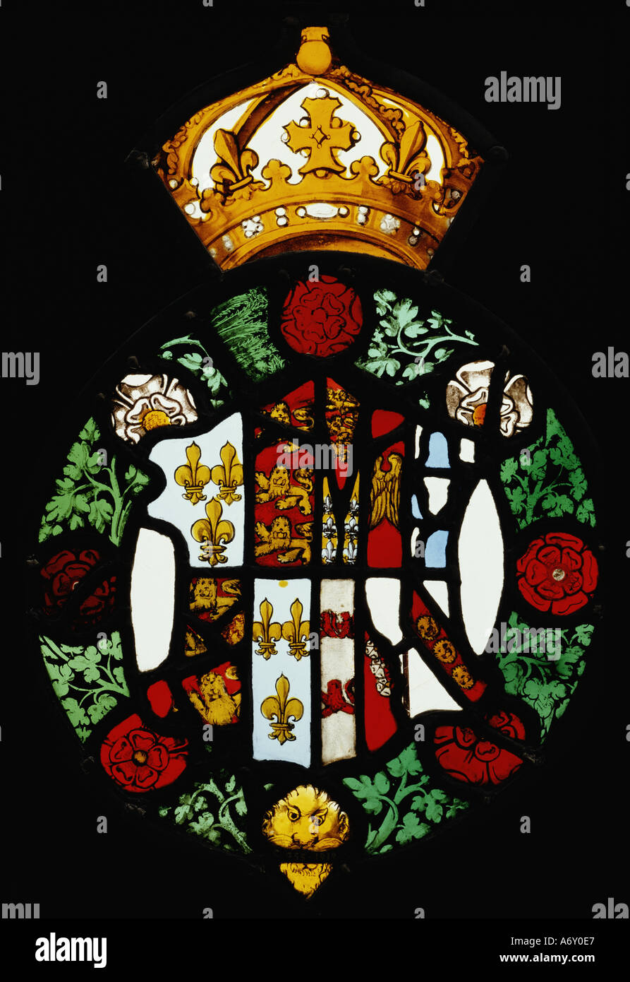 Stained glass medallion with the royal arms of Jane Seymour. England, mid 16th century. - Stock Image