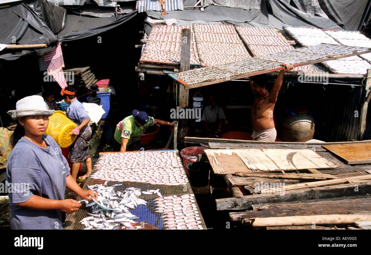 Bangkok Drying fish Thai  sun Chao Praya River - Stock Image
