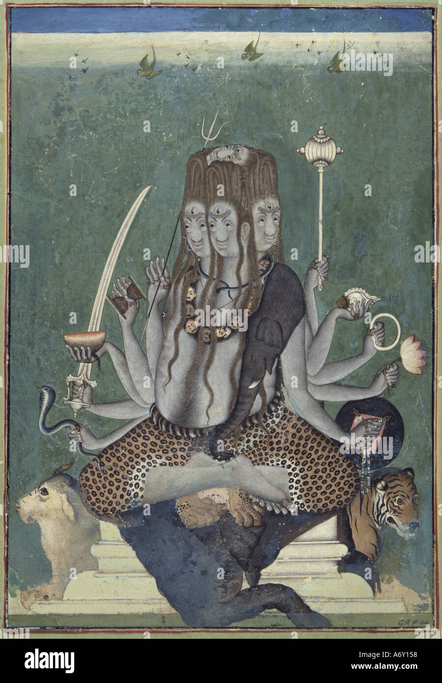 The Five Faced Shiva. India, mid 18th century. - Stock Image