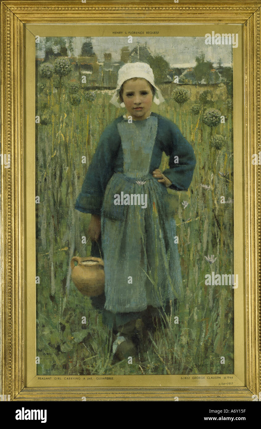 Peasant Girl Carrying a Jar by Sir George Clausen. England, 1882. - Stock Image
