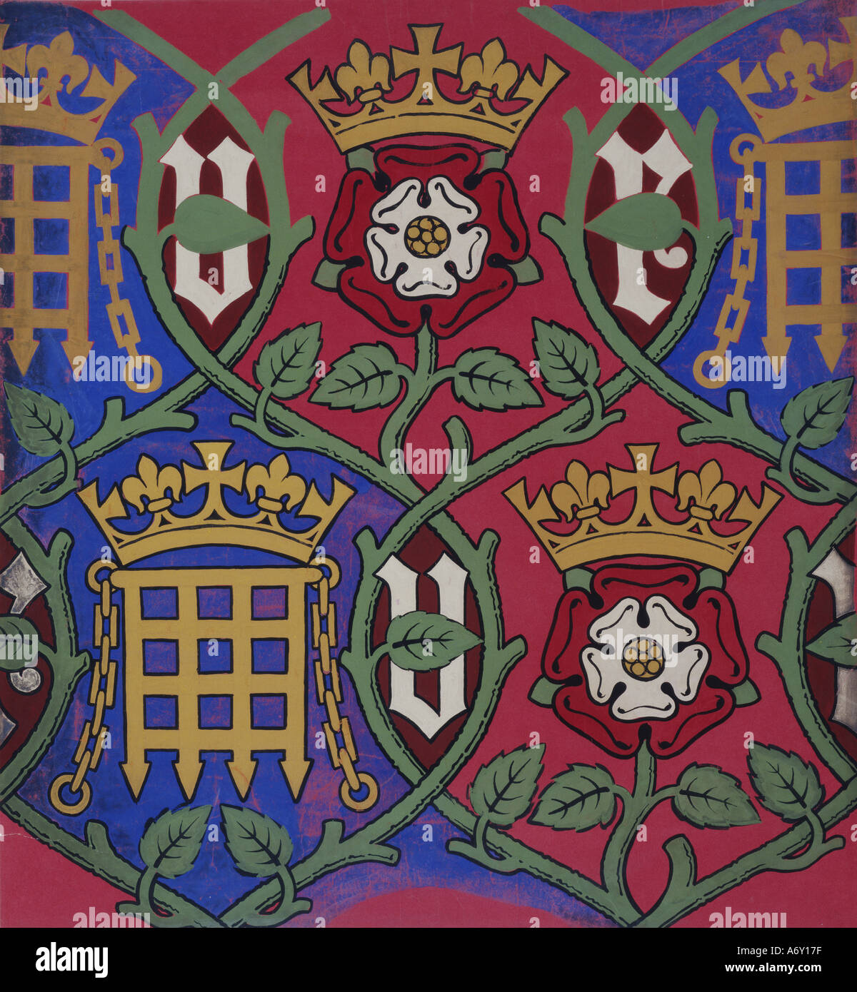 Rose and Portcullis Wallpaper for the Houses of Parliament by A W N Pugin. Britain, mid 19th century. - Stock Image