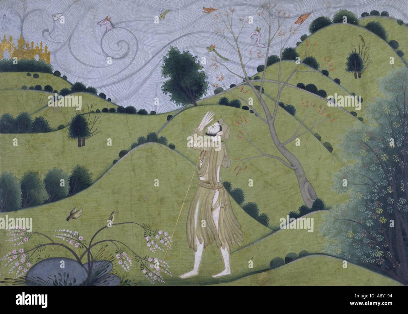 The Road to Krishna. Garwhal, Pahari, India, late 18th century. - Stock Image