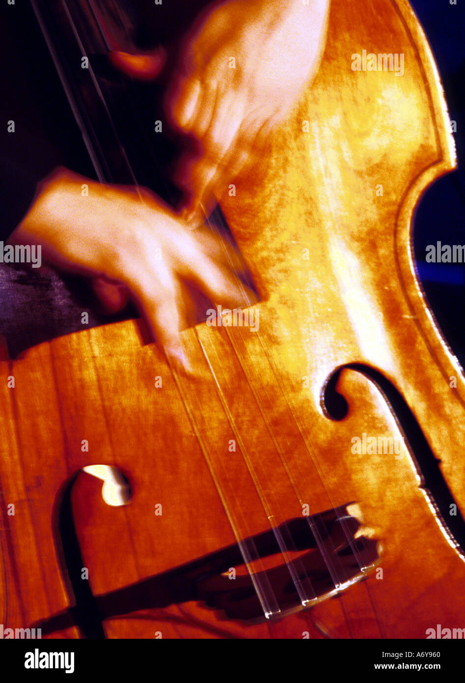 Double Bass being played - Stock Image