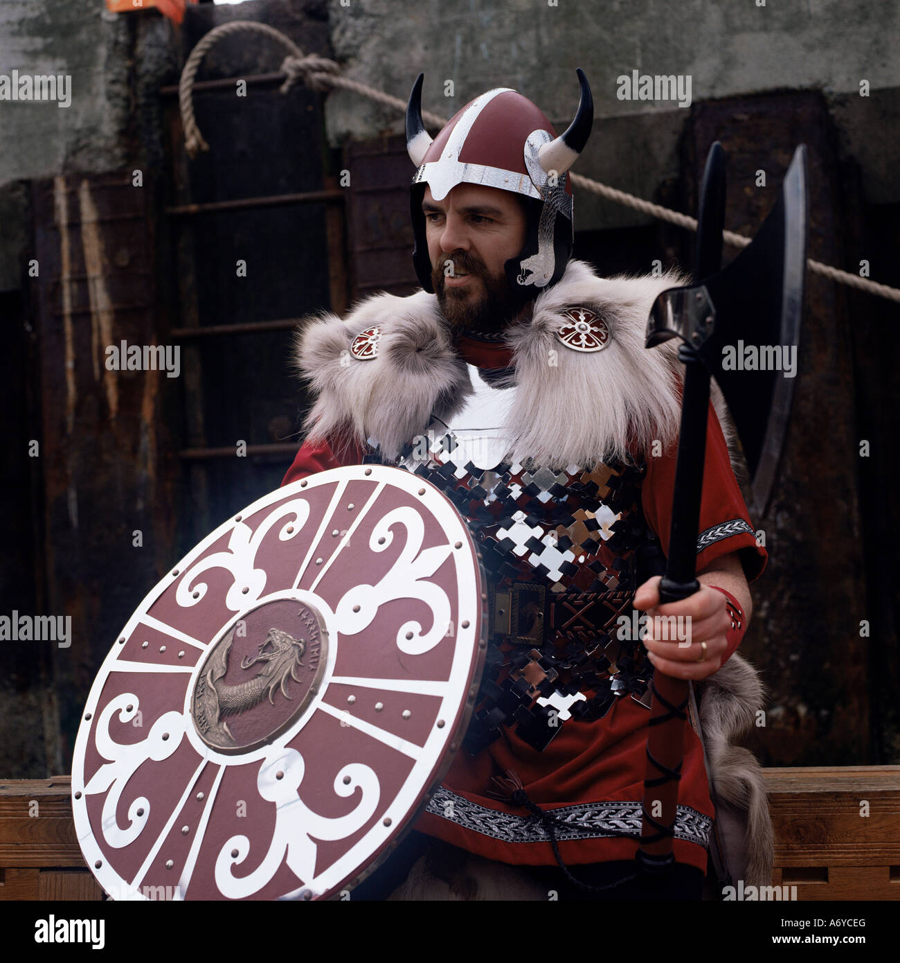 Man in costume Viking Gothic revival Shetlands Scotland United Kingdom Europe - Stock Image