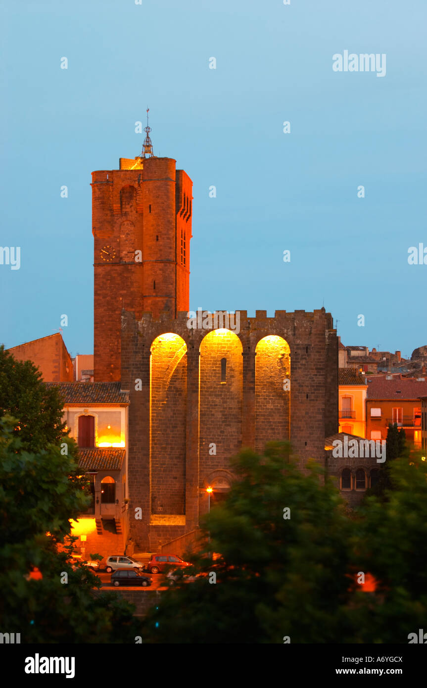 The black basalt lava stone cathedral. Agde town. Languedoc. France. Europe. St Etienne cathedral from the 12 century. Stock Photo