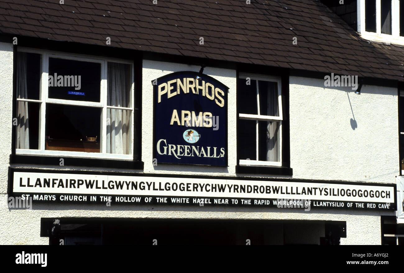St Marys Church in Hollow Wales World's Longest Single Word  Llanfairpwllgwyngyllgogerychwyrndrobwllllantysiliogogogoch - Stock Image