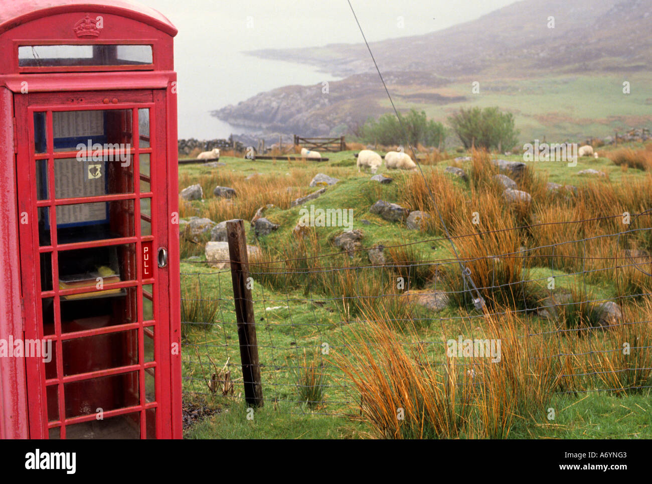 old red booth call box telephone kiosk england - Stock Image