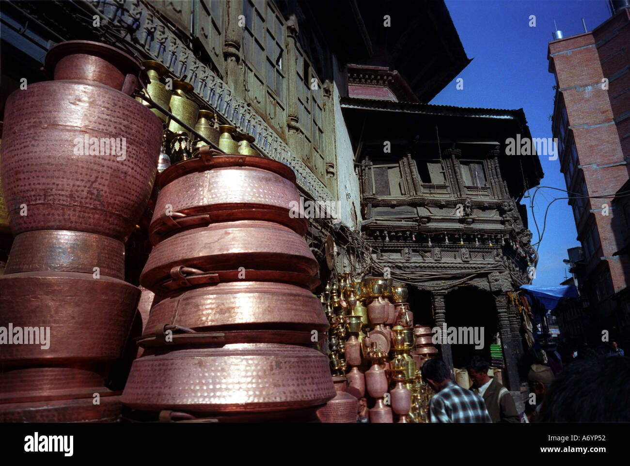 Bowls for sale in the centre of Kathmandhu Nepal - Stock Image