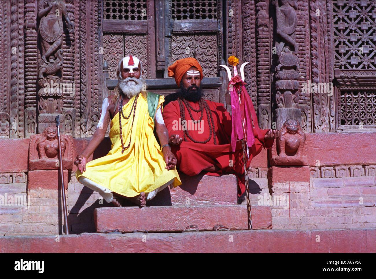 Colourful sadhus or holy men in Kathmandhu Nepal - Stock Image