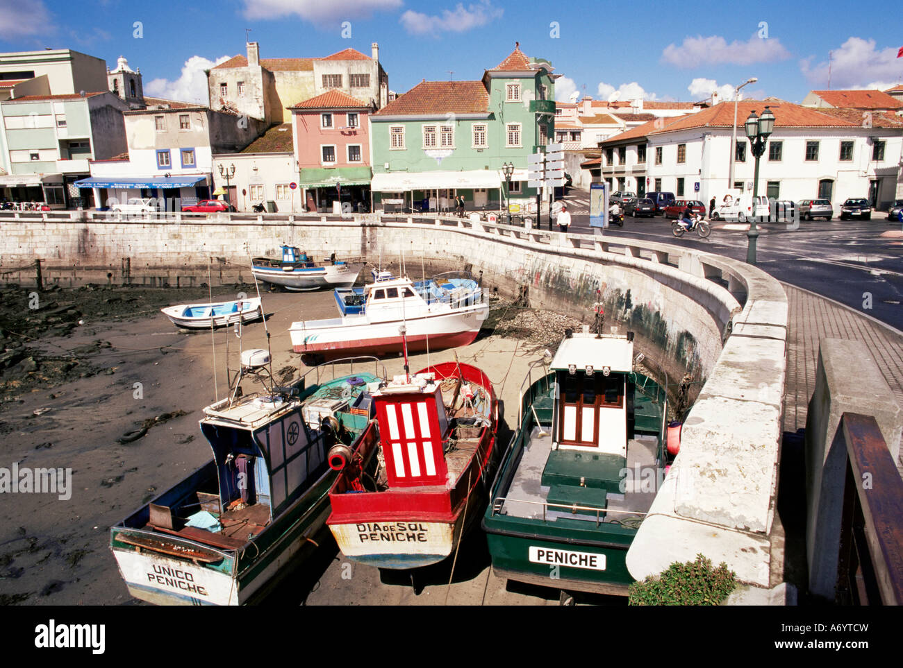 Fishing boats at low tide Peniche Estremadura Portugal Europe - Stock Image