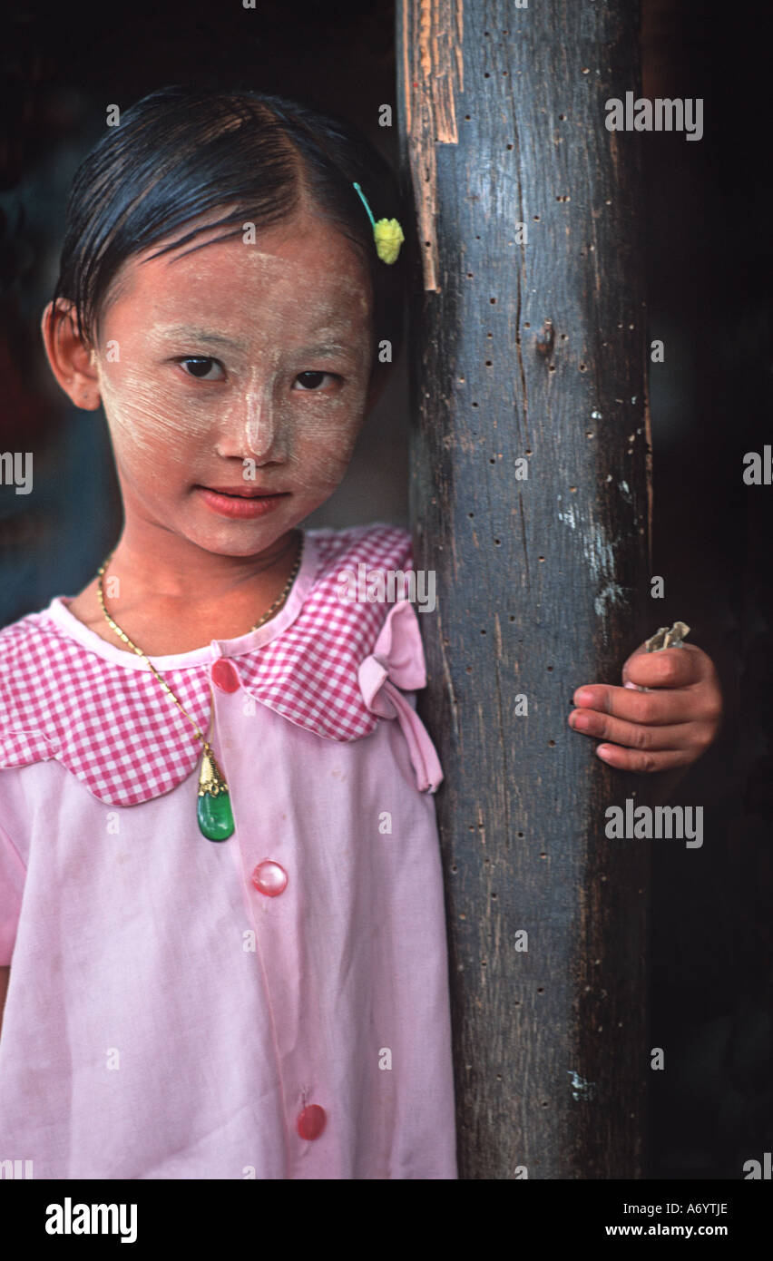 Burmese youngster with powdered face Taungboyone August Nat Festival nr Mandalay Burma - Stock Image