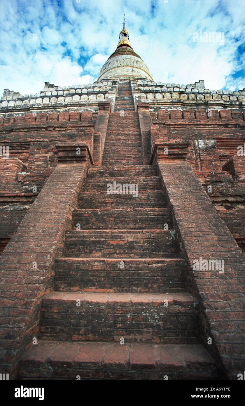 Steep steps leading up to the top terrace and stupa of Shwesandaw Pagoda Bagan Burma Myanmar - Stock Image