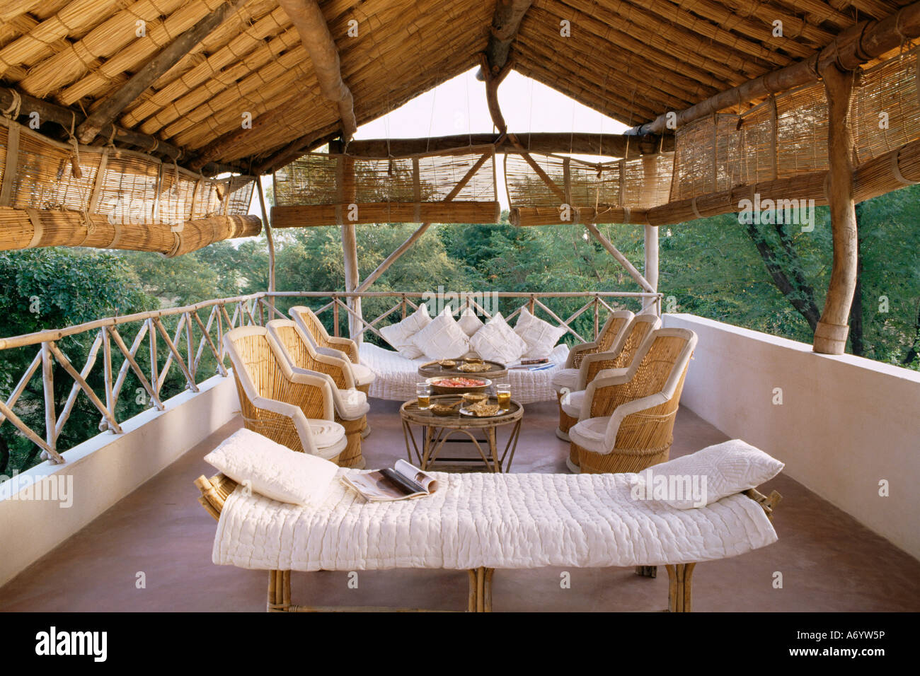 Seating area on the roof terrace of an old farm house conversion now a residential home Amber near Jaipur Rajasthan Stock Photo