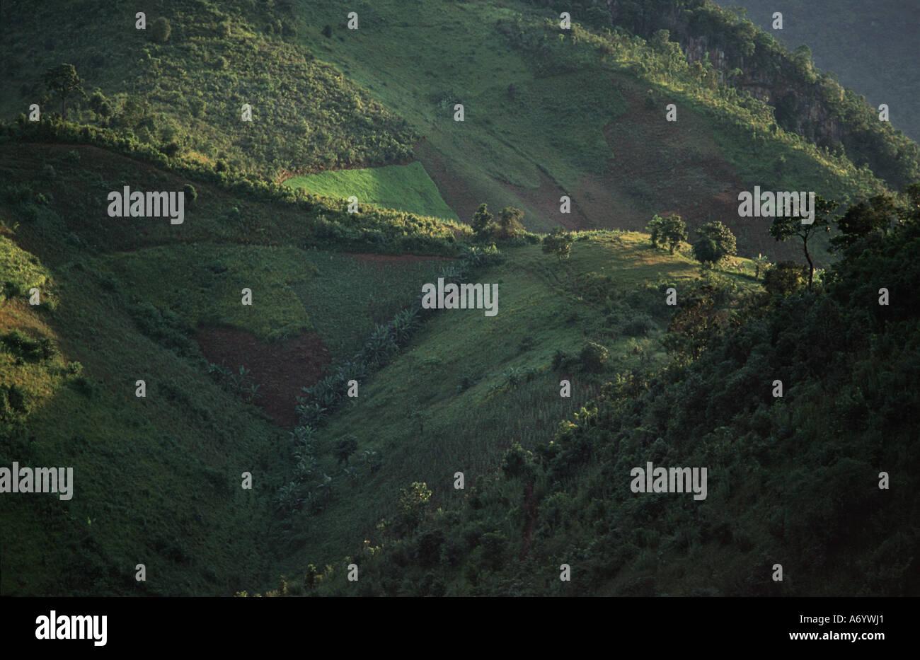 Hilltribe vista Trekking out of Kalaw en route towards Shwe Min Bone village Shan State Burma - Stock Image