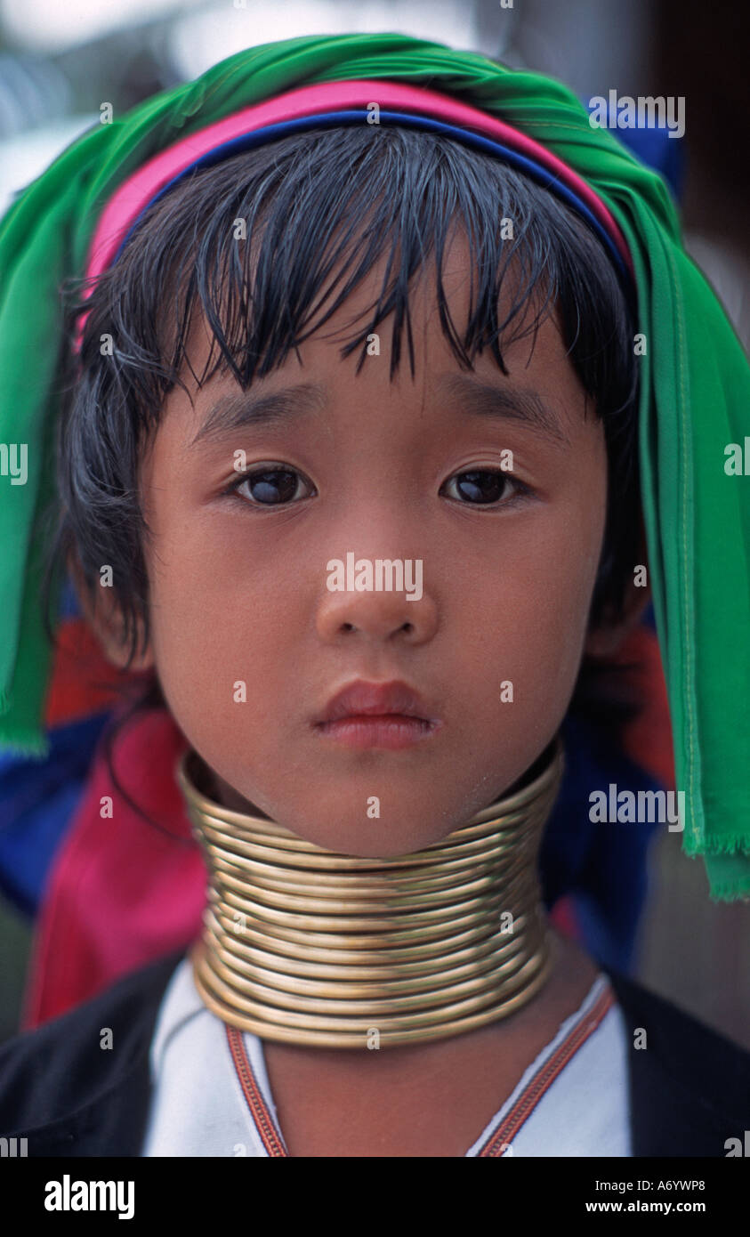Padaung girl with distinctive brass neck rings Shan State Burma - Stock Image