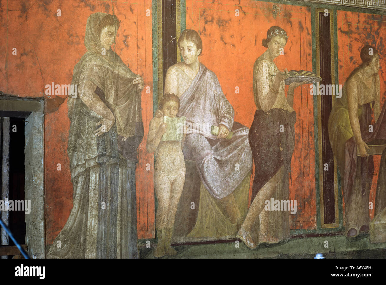 Wall paintings Villa of the Mysteries Pompeii UNESCO World Heritage Site Campania Italy Europe - Stock Image