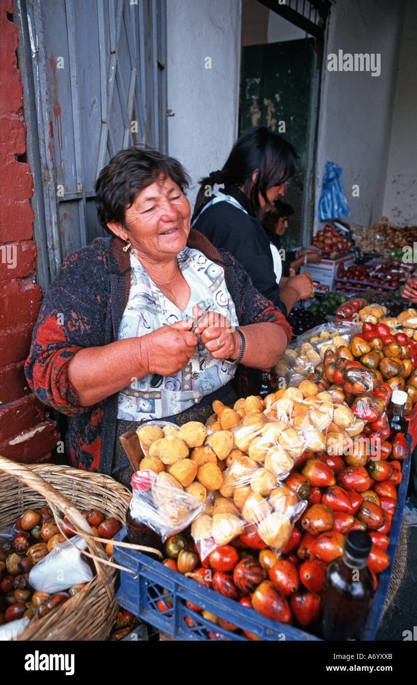 Friendly Colombian vendor at market Silvia town near Popayan Southern Colombia South America - Stock Image