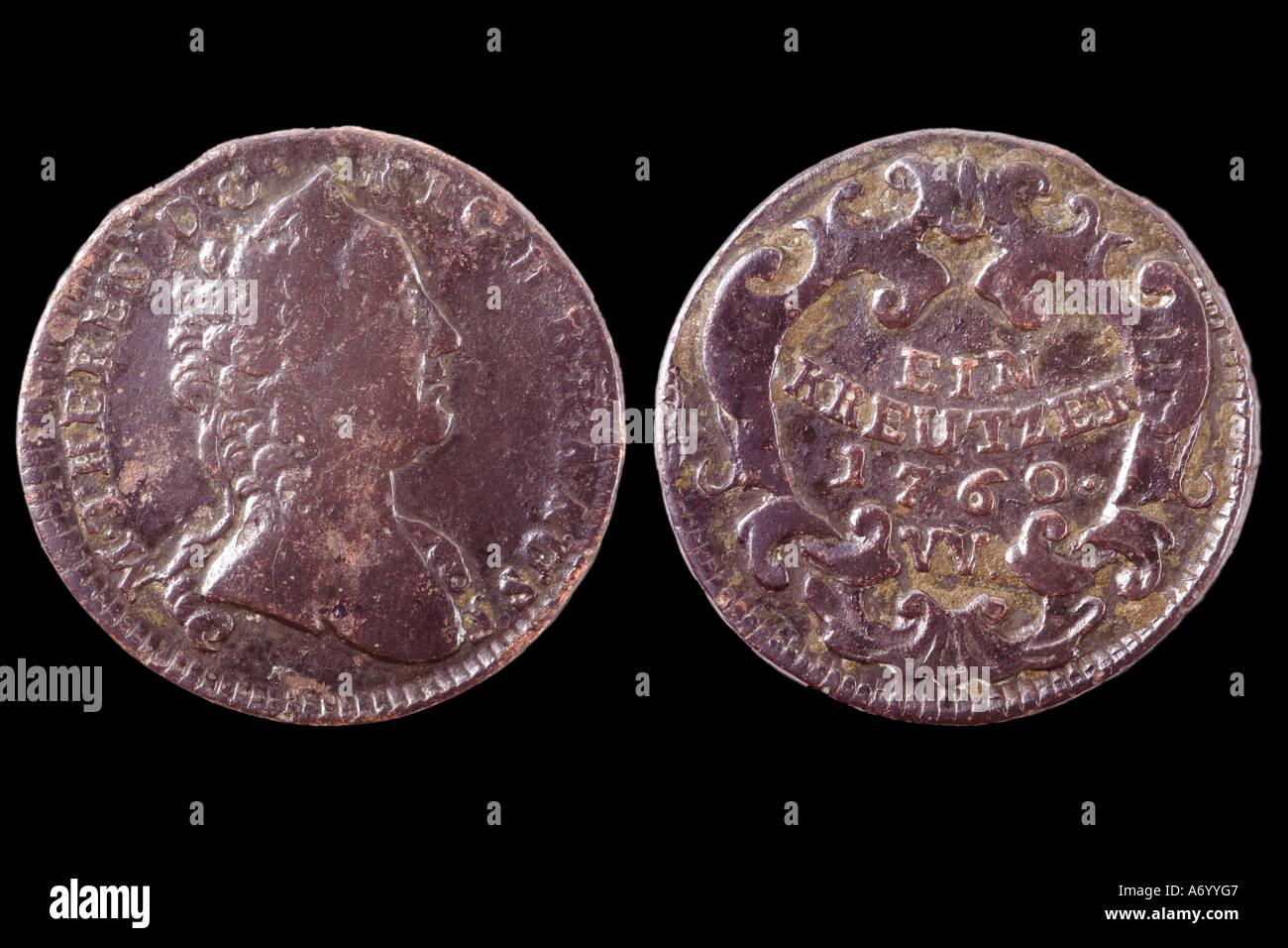 Austrian money (1760) - Stock Image