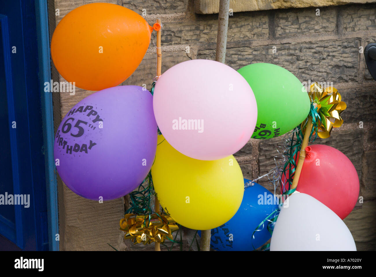 Balloons Outside A House In Scotland For 65th Birthday Party