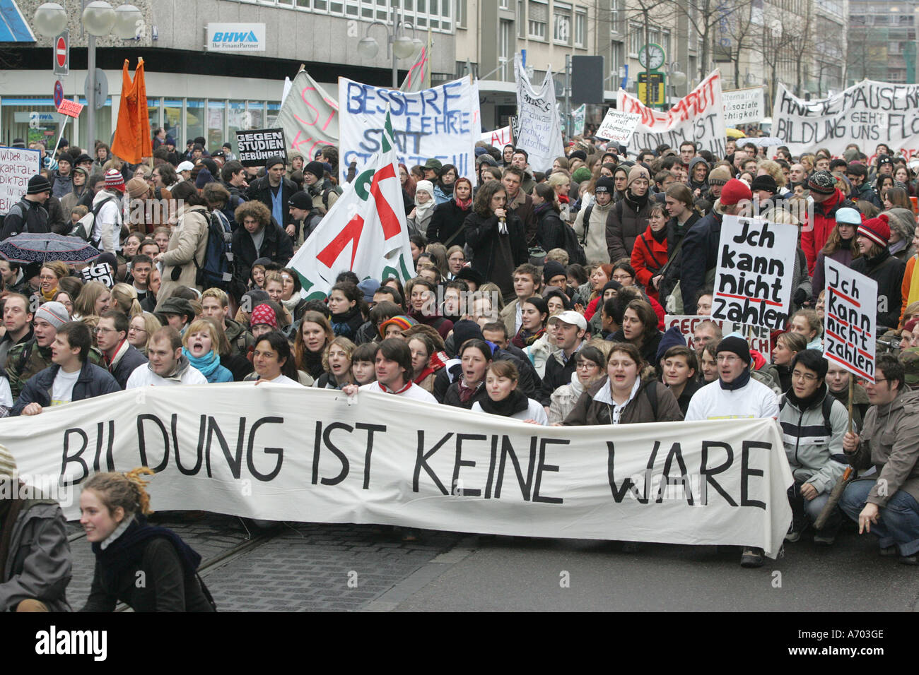 Mannheim, DEU, 03.02.2005, student demo against the introduction of study fees, demonstration to Mannheim - Stock Image
