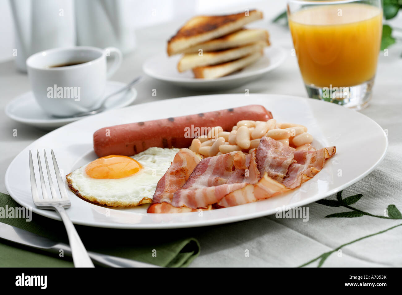 English Breakfast Coffee Fried Eggs Bacon Sausages Bread Juice And