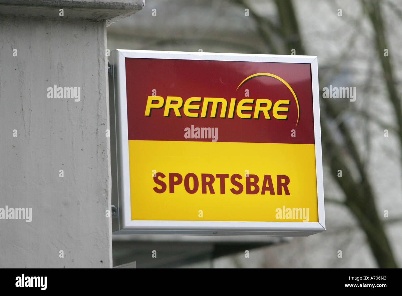 DEU, Federal Republic of Germany, sign Premiere sport bar - Stock Image