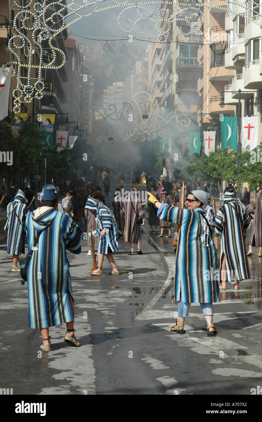 Battles between the Moors and Christians, Fiesta, moros y cristianos, Calpe, Costa Blanca, Spain - Stock Image
