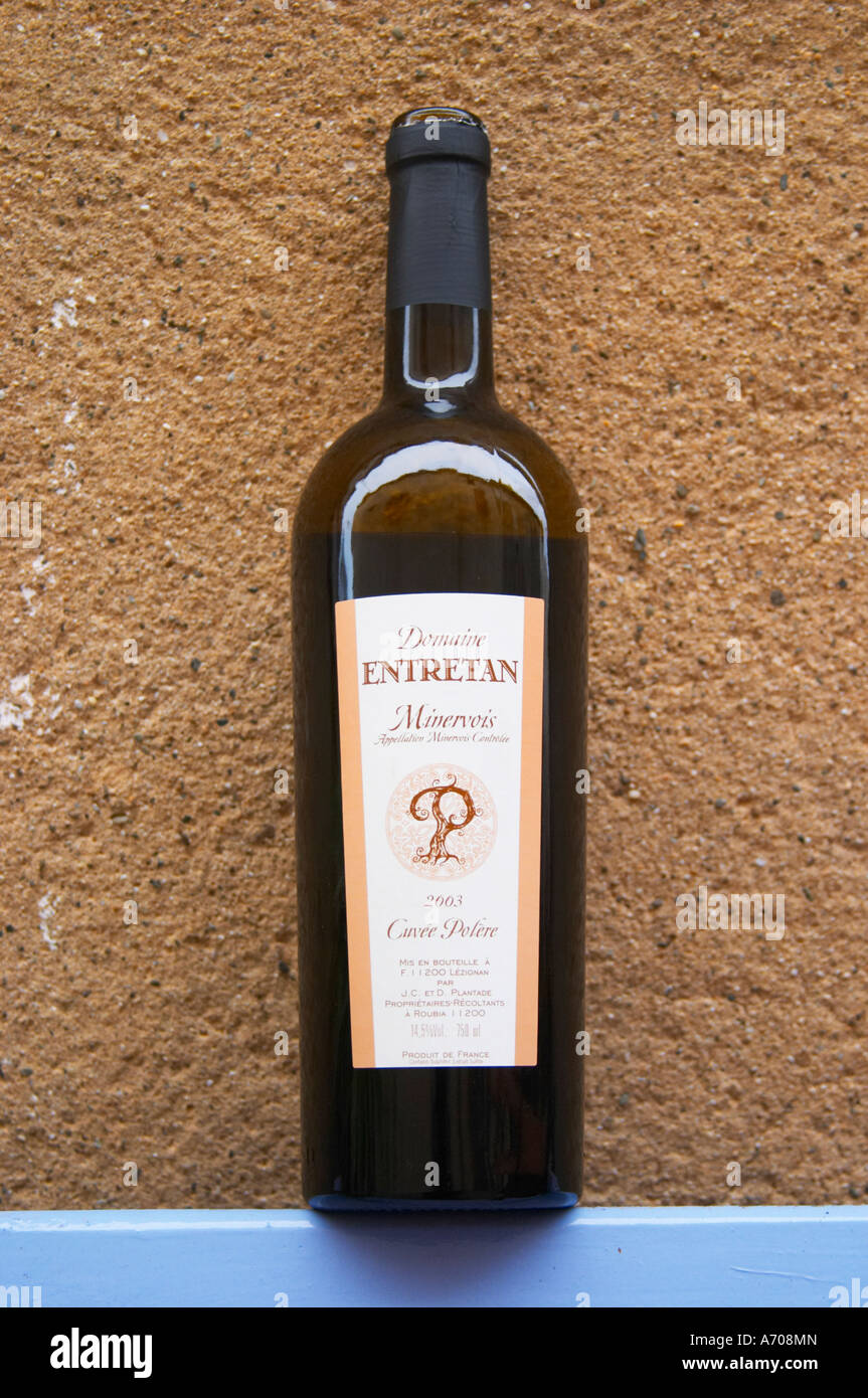 Domaine Entretan, J-C and D Plantade in Roubia. Cuvee Polere Minervois. Languedoc. France. Europe. Bottle. - Stock Image