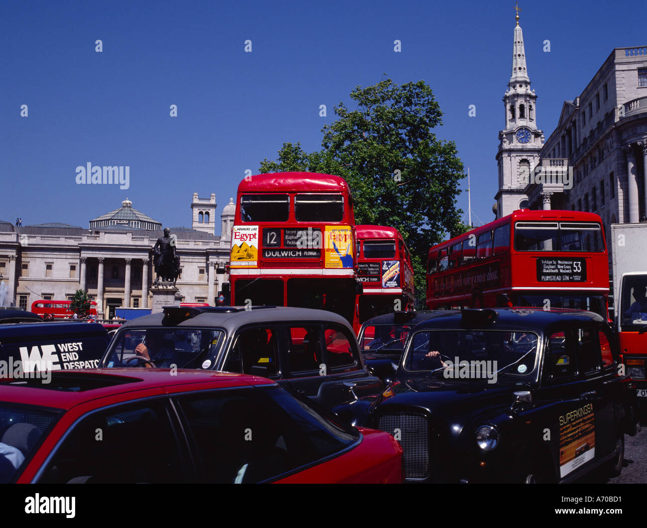 London Traffic Trafalgar Square London England - Stock Image