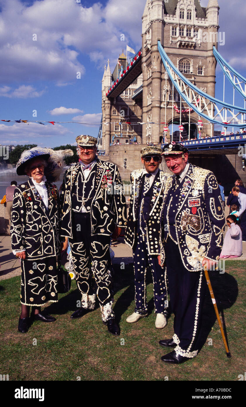 Pearly Kings and Queens London England UK - Stock Image
