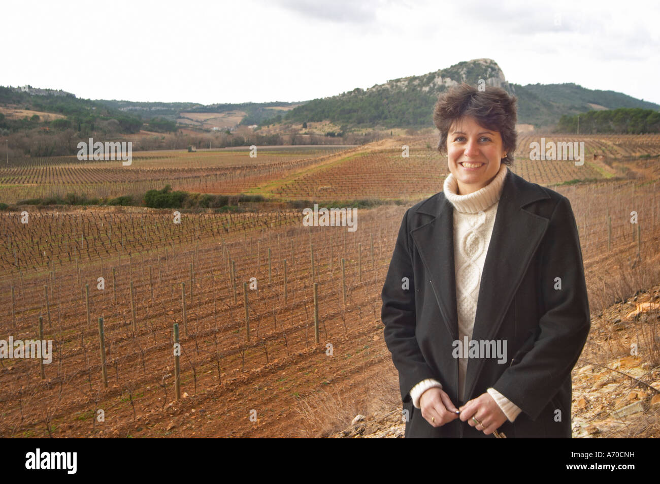 Christine Simon Clos Bagatelle St Chinian. Languedoc. Owner winemaker. The vineyard. France. Europe. Stock Photo
