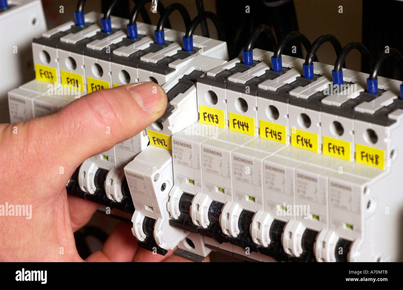 Siemens Safety Stock Photos Images Alamy Fuse Box Building Of Switchgears In A School Installations The Current Distributor