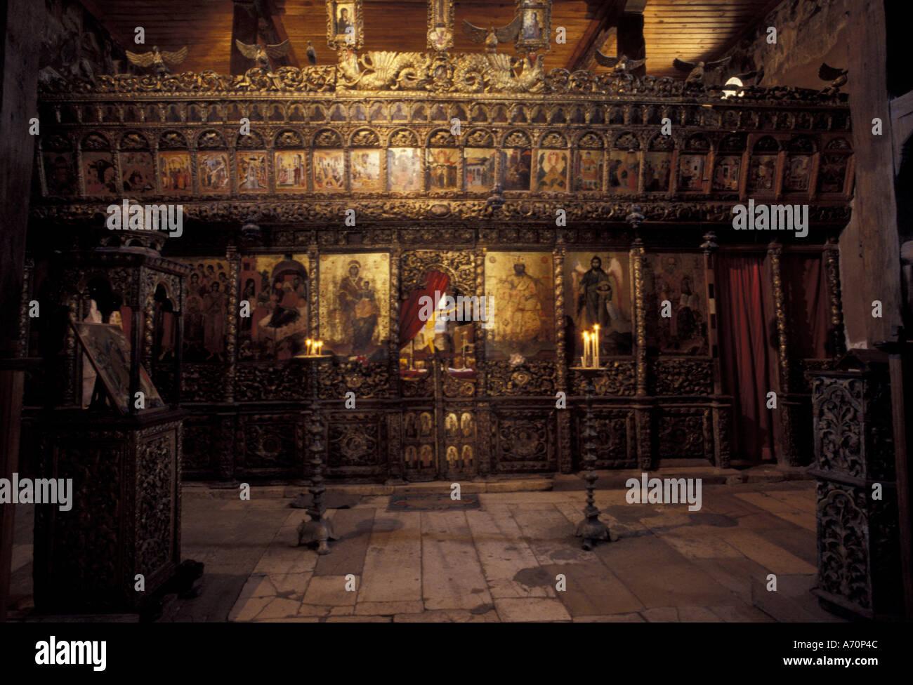 Europe, Albania, Ardenice. Monastery. Iconostasis inside 14th century church - Stock Image