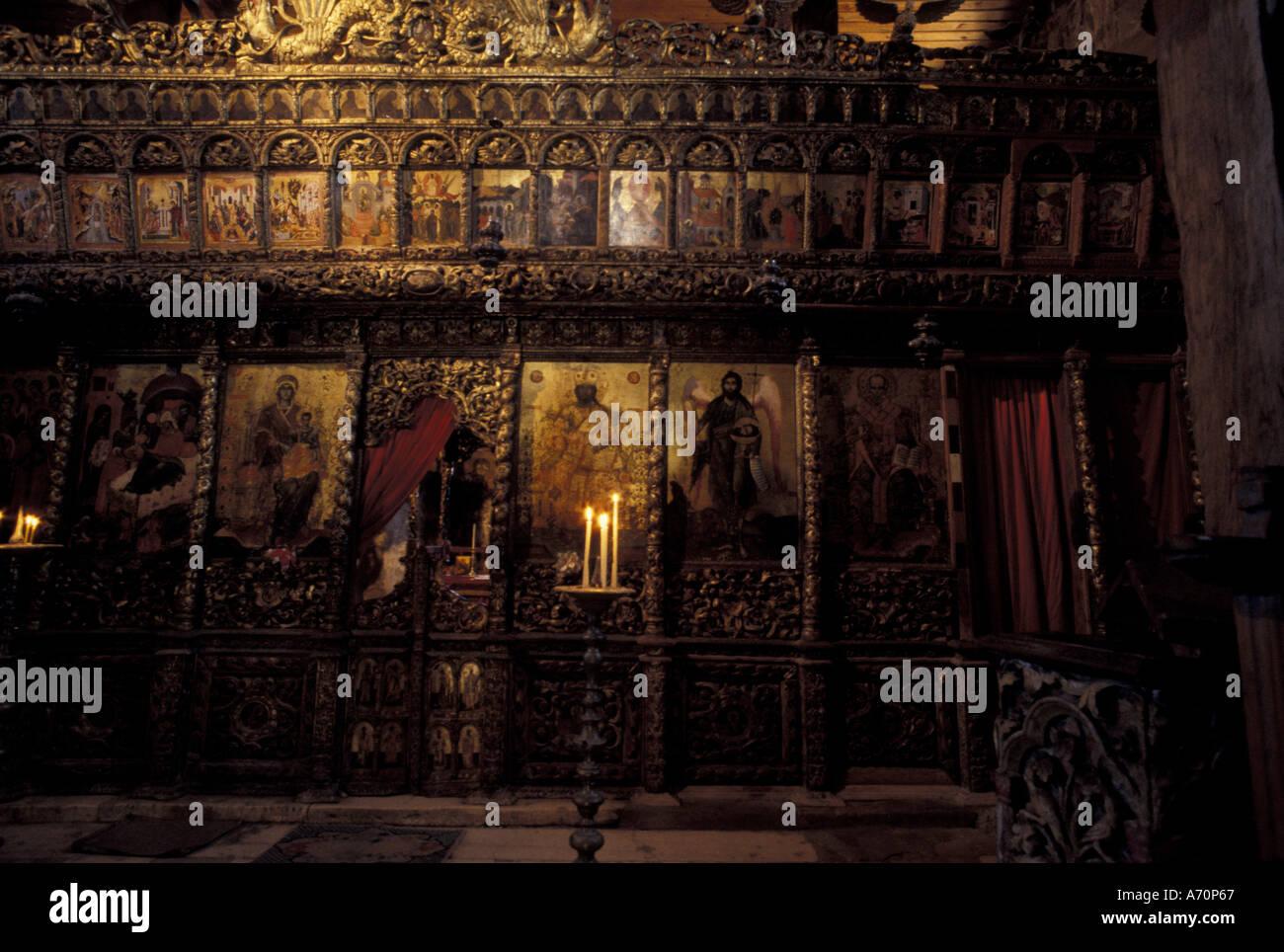 Europe, Albania, Ardenice. Monastery. Iconostasis inside the 14th century church - Stock Image