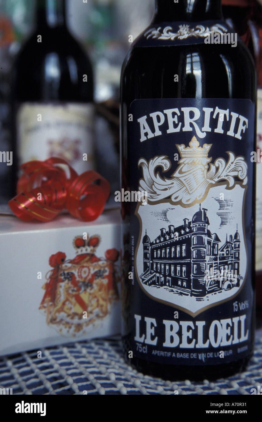 EUROPE, Belgium, Beloeil Castle Specially bottled Aperitif - Stock Image