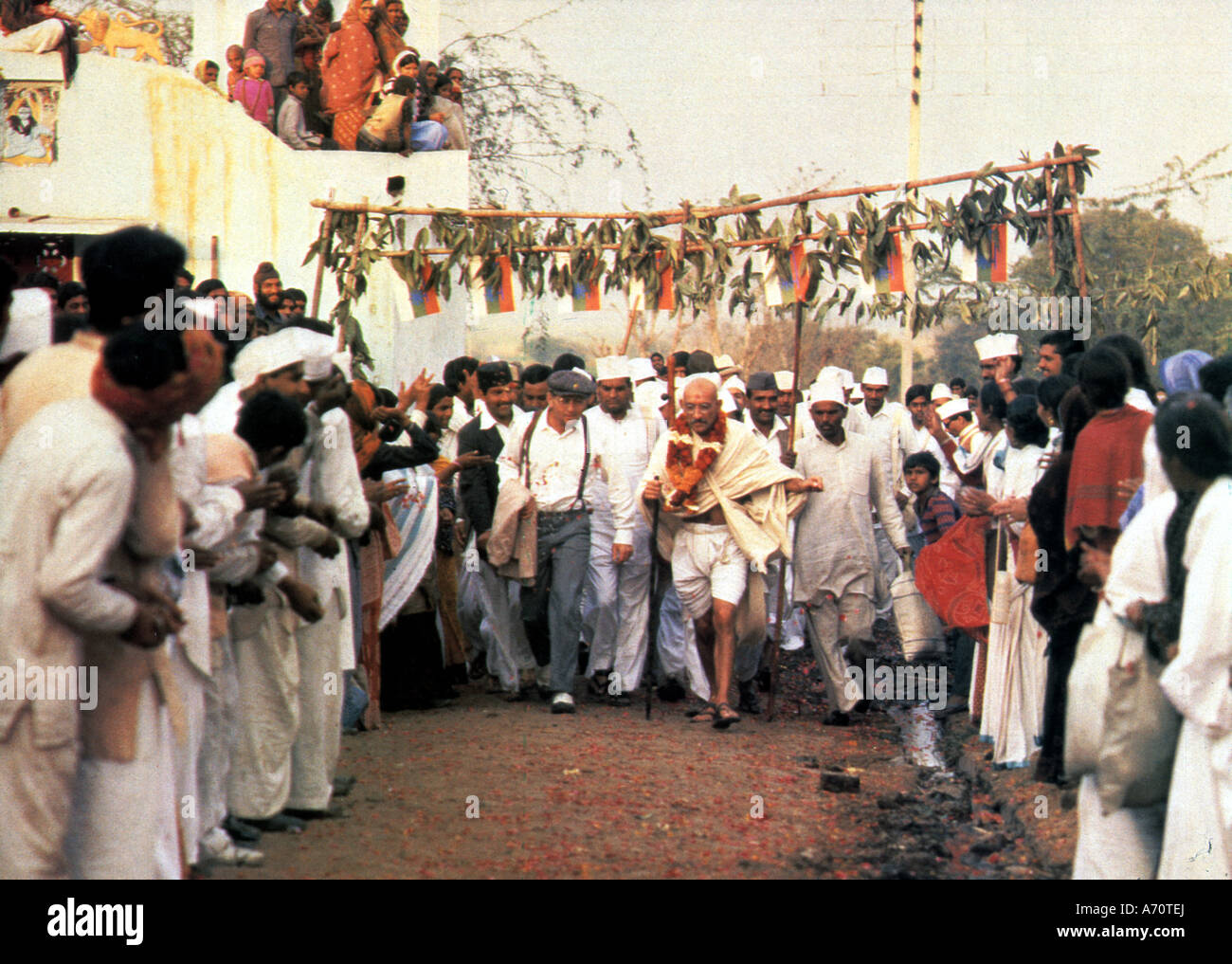 GANDHI 1982 Columbia/Goldcrest film with Ben Kingsley as Mahatma Gandhi - Stock Image
