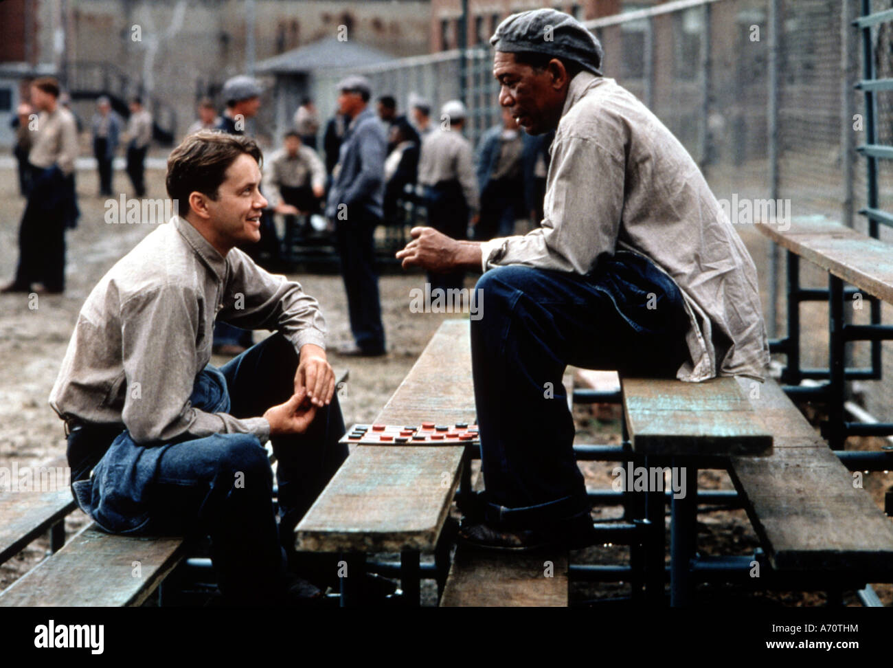 SHAWSHANK REDEMPTION  1994 Rank/Castle Rock film with Tim Robbine at left and Morgan Freeman - Stock Image