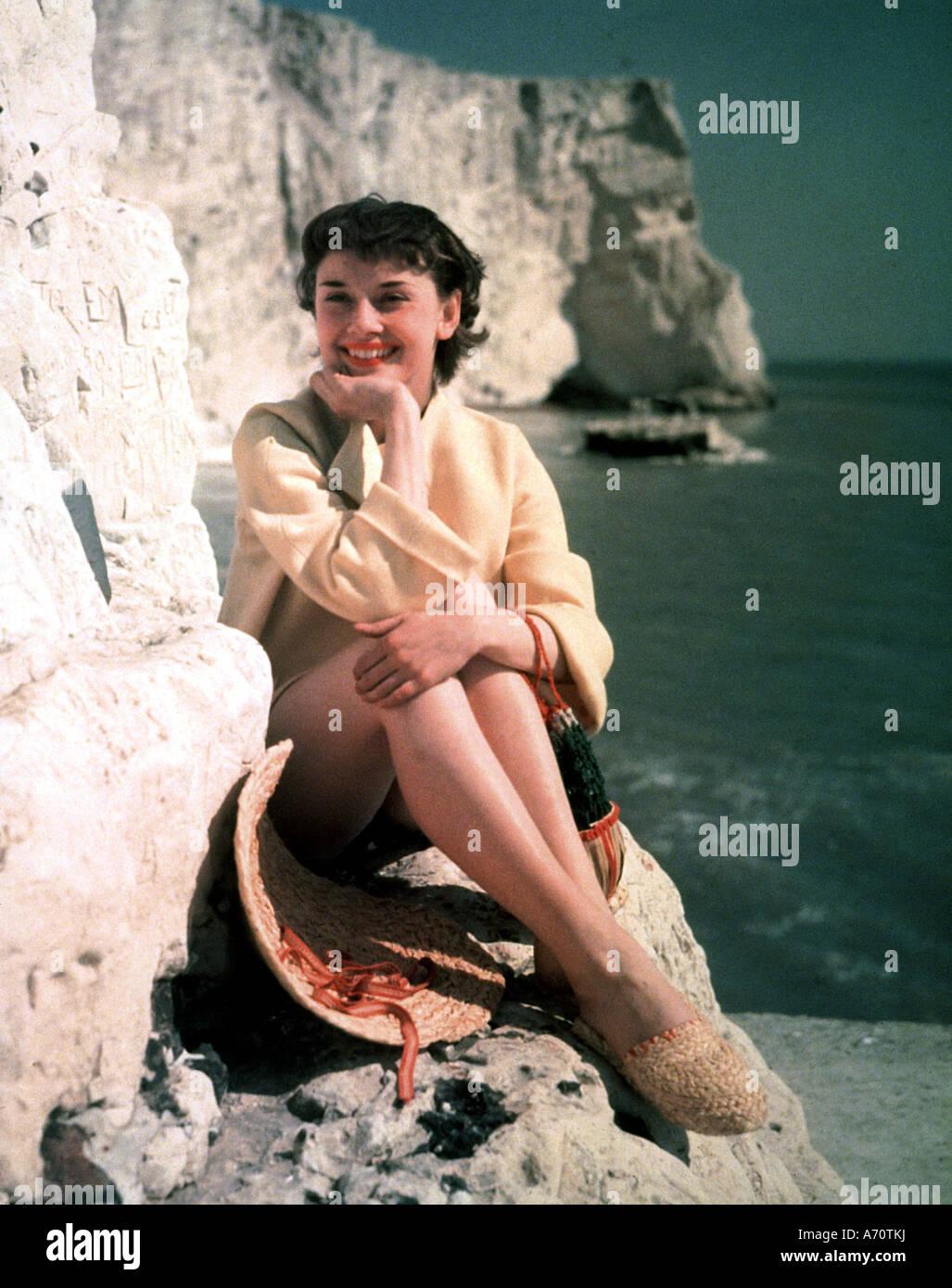AUDREY HEPBURN  - film actress about 1952 - Stock Image