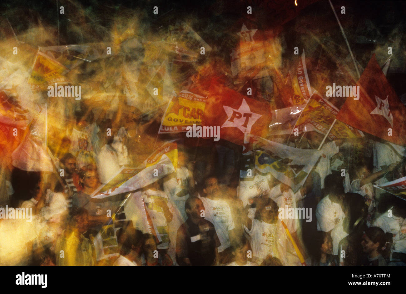 1994 Elections in Brazil - Workers Party  (Partido dos Trabalhadores) rally - Stock Image