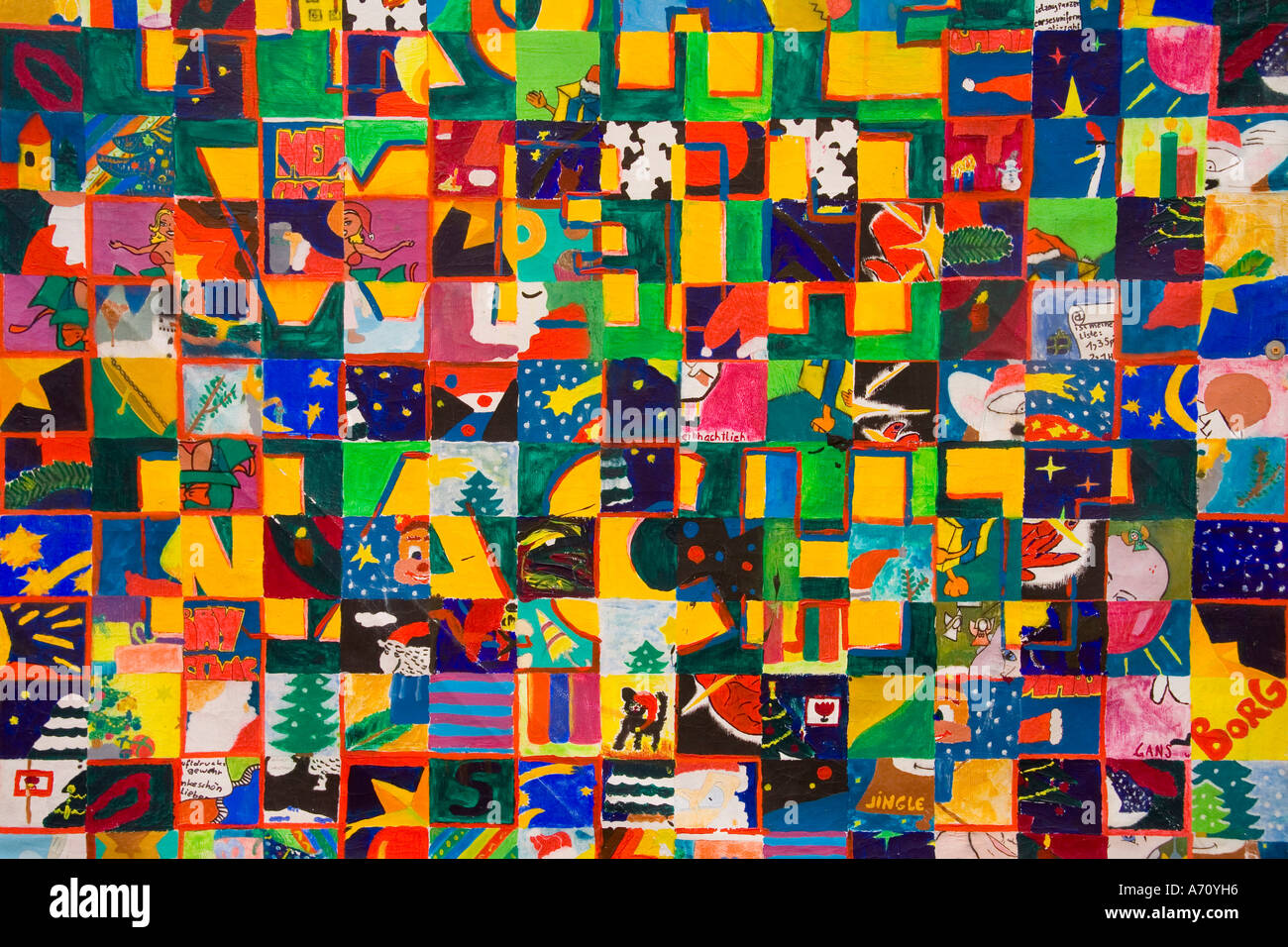 Mosaic paint (X_mas) from child - Stock Image