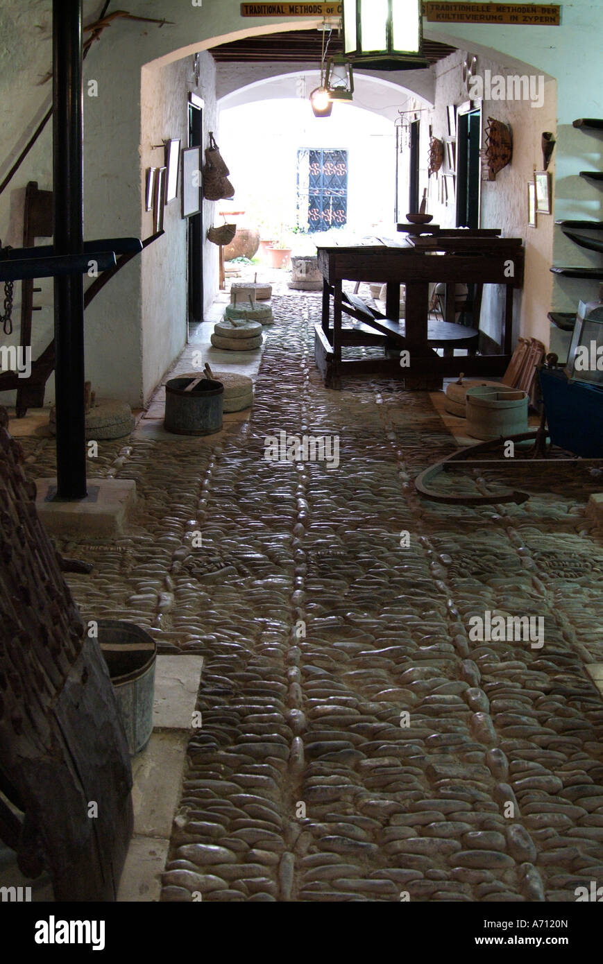 Ethnological museum pafos paphos house interior old time olden antique history historic collection local everyday - Stock Image