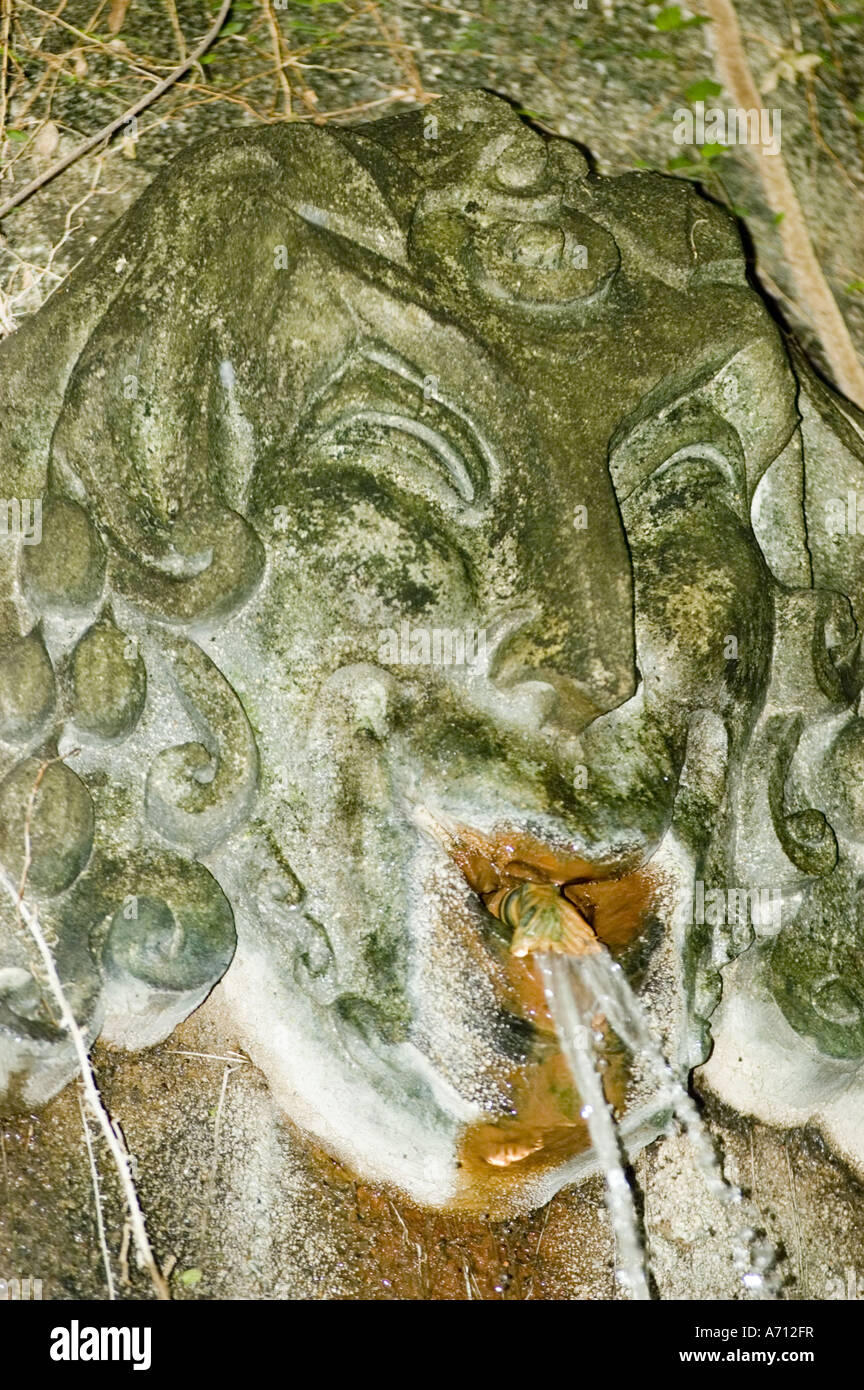 Satyr water fountain in Poznan Palmiarnia, Greenhouse, Poland - Stock Image